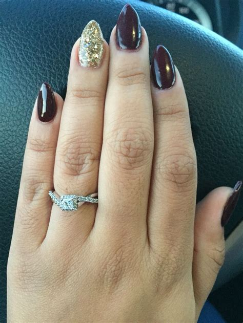 Fall burgundy short almond nails with gold ️ | Gold nails