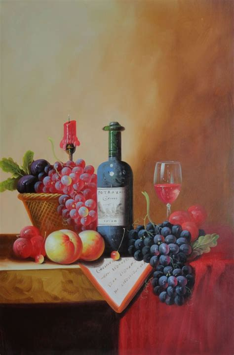 Framed Still Life with Wine Bottle, Glass of Red Wine, and