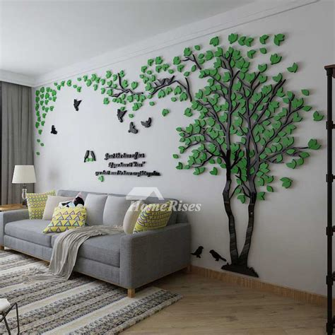 Tree Wall Decal 3D Living Room Green/Yellow Acrylic Best