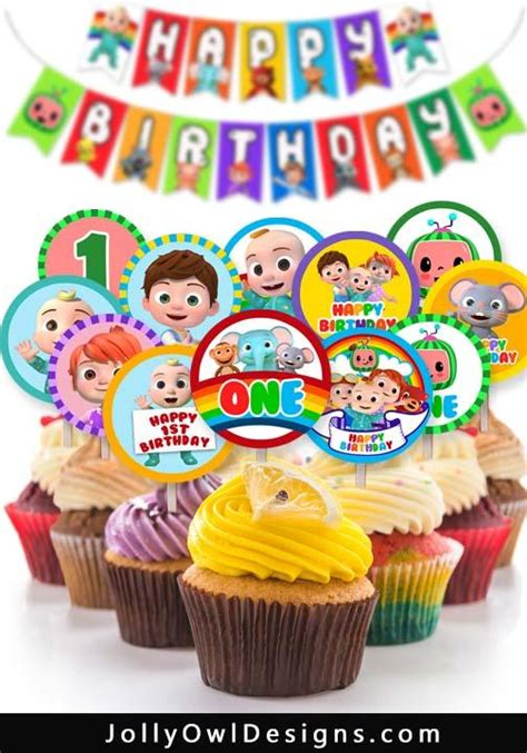 Cocomelon Birthday Party Cupcake Topper for AGE 1 – Jolly