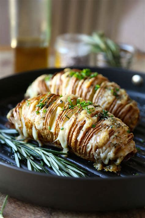 Sliced Baked Potato (Hasselback) With Rosemary And Gruyere