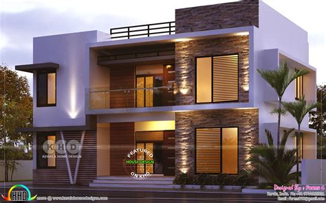 Day and night view of 4 bedroom 1800 sq-ft - Kerala home