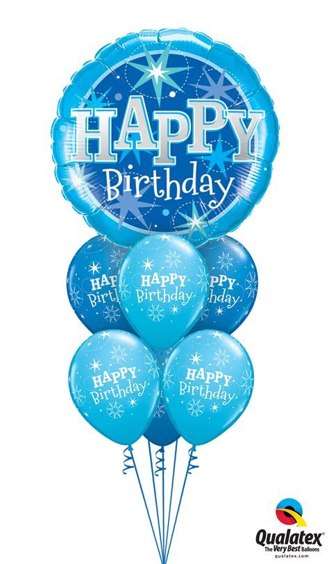 Balloons Delivered/Inflated :: Happy Birthday Blue Sparkle