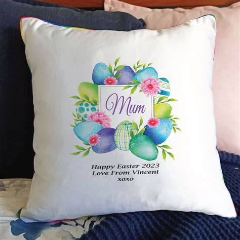 Gifts for Mum   Mum Easter Cushion Cover - Blue Eggs
