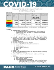 COVID-19 Jamaica Situation Report - August 30, 2020 - PAHO