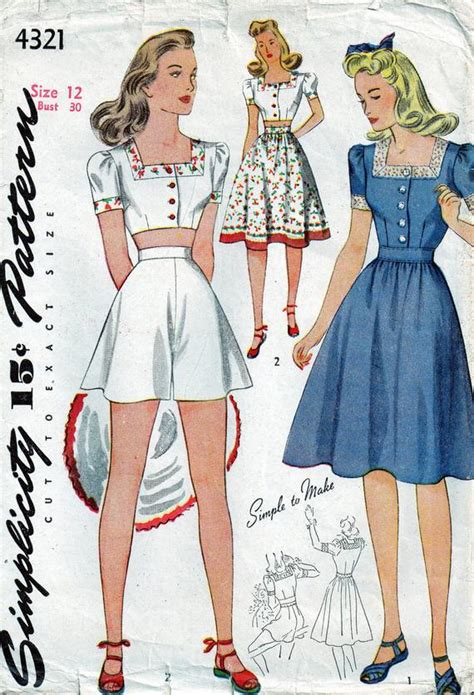 Items similar to Vintage 1940s Simplicity Playsuit Sewing