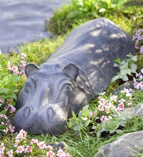 Swimming Hippo Resin Garden Sculpture | Wind and Weather