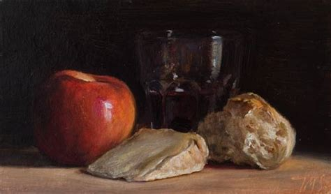 Daily paintings   Still Life with Bread, Cheese, Apple and